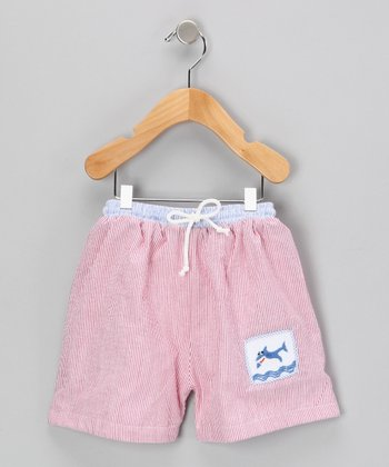 Red Stripe Shark Seersucker Swim Trunks - Infant