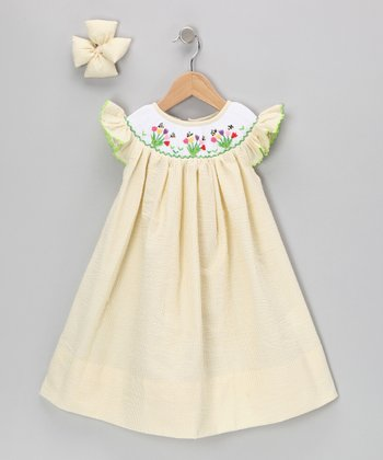 Yellow Tulip Seersucker Dress & Bow Clip - Infant