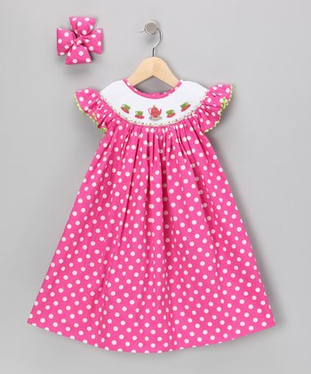 Hot Pink Teacup Polka Dot Dress & Clip - Infant