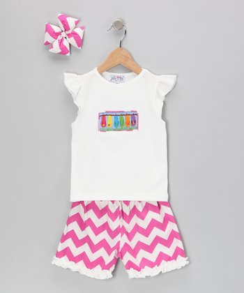 Pink Flip-Flop Zigzag Shorts Set - Infant
