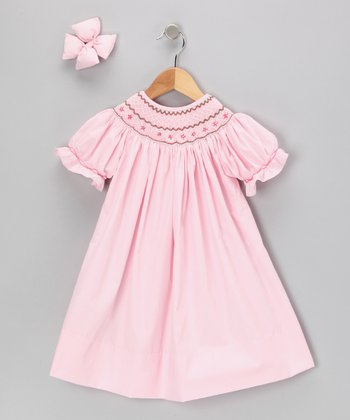 Light Pink Geometric Bishop Dress & Bow Clip - Infant