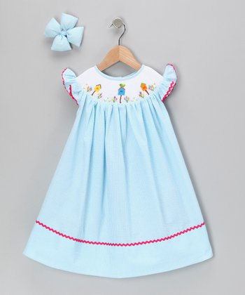 Turquoise Bird Seersucker Dress & Bow Clip - Girls