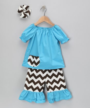 Turquoise Chevron Capri Pants Set - Infant