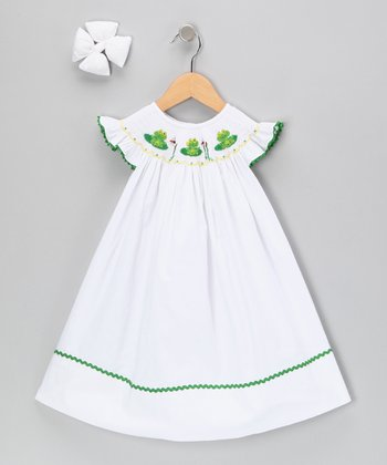 White Frog Dress & Clip - Infant, Toddler & Girls