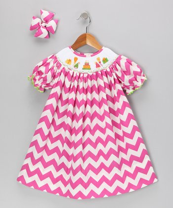 Hot Pink Birthday Dress & Bow Clip - Girls