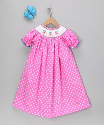 Pink Pig Bishop Dress & Bow Clip - Toddler