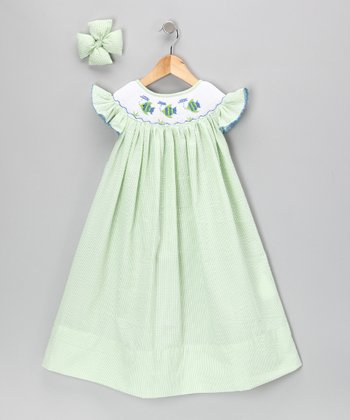 Lime Fish Seersucker Dress & Bow Clip - Girls