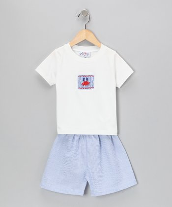 Blue Stripe Crab Tee & Seersucker Shorts - Toddler