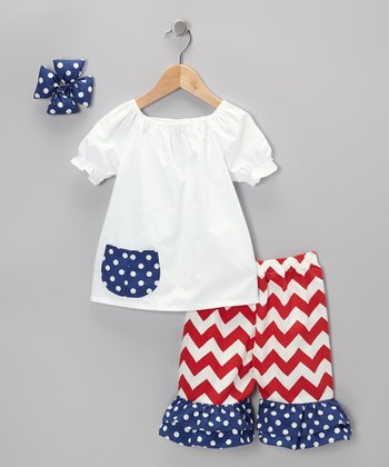 Red & White Zigzag Capri Pants Set - Toddler & Girls