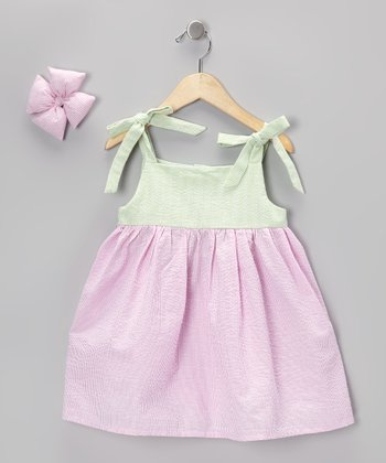 Pink Seersucker Dress & Bow Clip - Girls