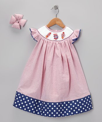Red & Blue Seersucker Dress & Bow Clip - Toddler & Girls