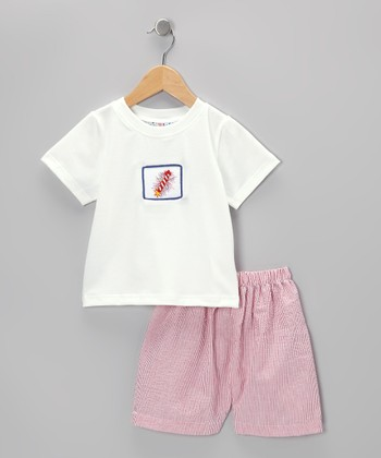 White Patriotic Tee & Red Seersucker Shorts - Toddler & Girls