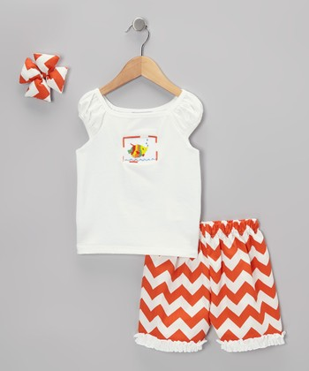 Orange Chevron Ruffle Shorts Set - Infant