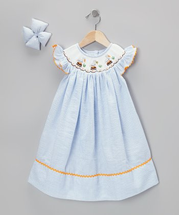 Light Blue Pelican Dress & Bow Clip - Infant