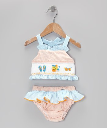 Orange Seeksucker Sunsuit - Infant