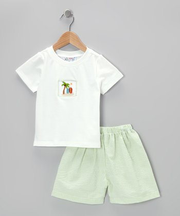 White Tee & Green Seersucker Shorts - Infant, Toddler & Boys