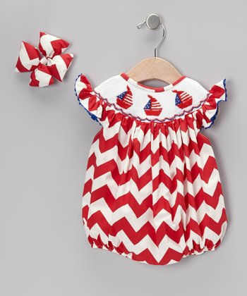 Red & White Zigzag Sailboat Bubble Bodysuit & Bow Clip - Infant