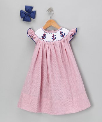 Red Anchor Seersucker Dress & Bow Clip - Infant