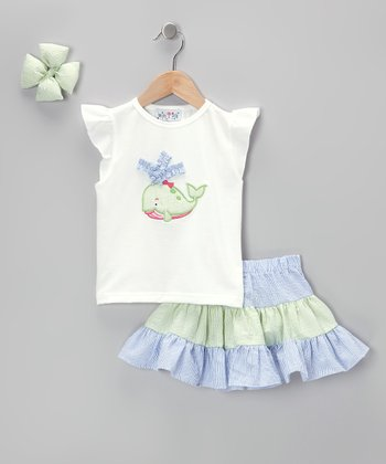 Blue & Green Whale Seersucker Skirt Set - Infant