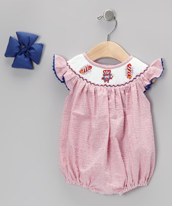 Red Patriotic Seersucker Bubble Bodysuit & Bow Clip - Infant