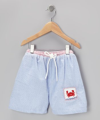 Blue Stripe Crab Seersucker Cotton Swim Trunks - Infant