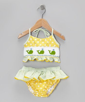 Yellow & Green Seersucker Cotton Bikini - Infant