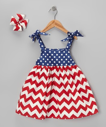 Red & Blue Zigzag Dress & Bow Clip - Girls