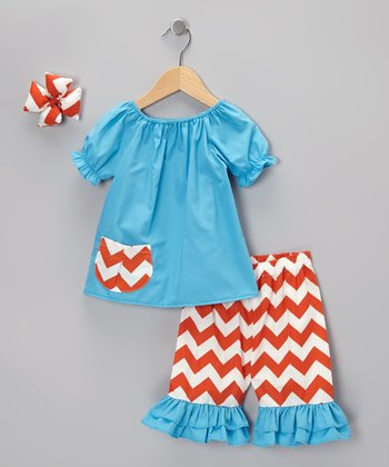 Turquoise & Orange Capri Pants Set - Infant & Girls
