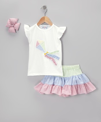Green & Blue Kite Seersucker Skirt Set - Infant