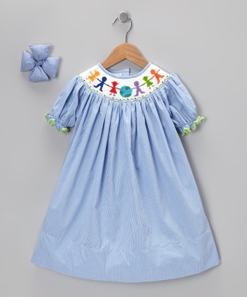 Blue Children of the World Dress & Bow Clip - Infant