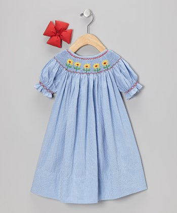 Blue Sunflower Dress & Bow Clip - Infant