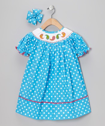 Blue Paisley Bishop Dress & Bow Clip - Infant, Toddler & Girls