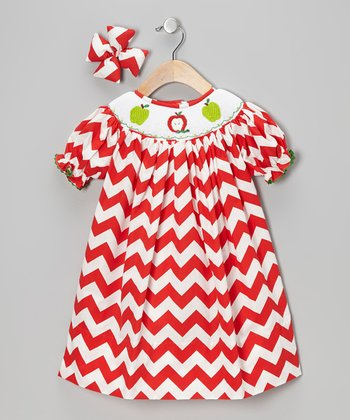 Red Apple Bishop Dress & Bow Clip - Infant & Toddler