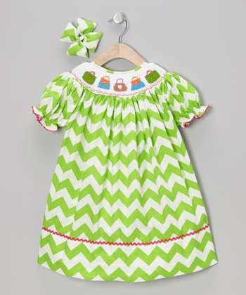 Green Purse Dress & Bow Clip - Infant, Toddler & Girls