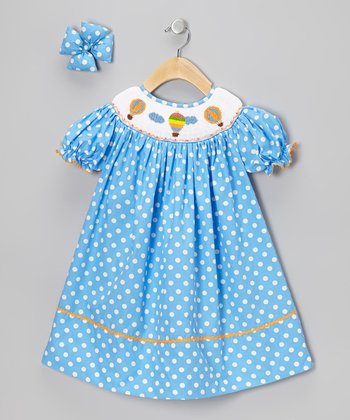 Blue Balloon Dress & Bow Clip - Girls