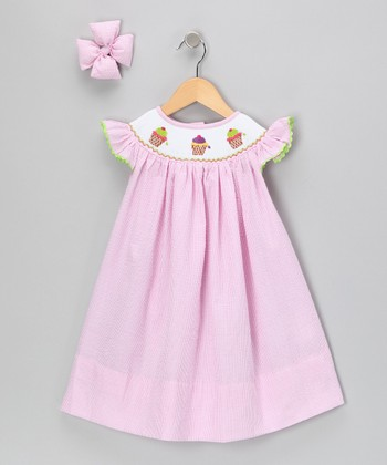 Pink Ice Cream Dress & Bow Clip - Infant & Girls