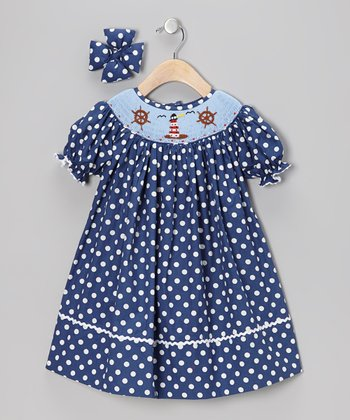 Navy Lighthouse Bishop Dress & Bow Clip - Girls