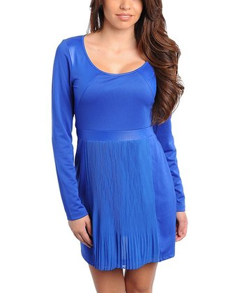 Blue Scoop Neck Long-Sleeve Dress