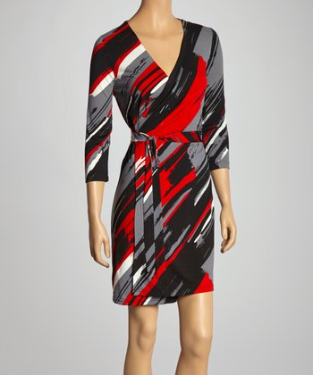 Red & Black Abstract Wrap Dress