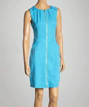 Blue Pleated Sleeveless Dress
