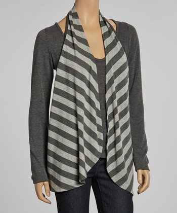 Gray Stripe Layered Top