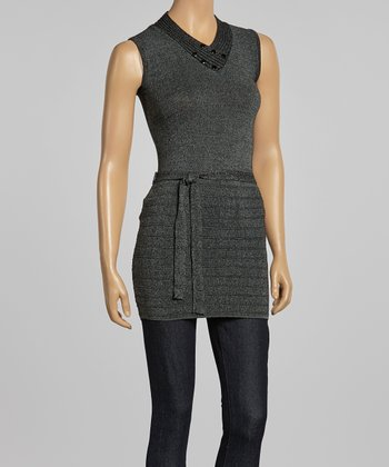 Black Sash-Tie Sleeveless Tunic