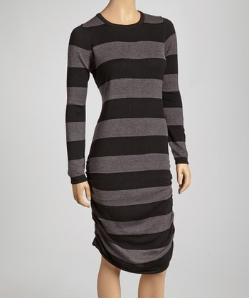 Black & Gray Stripe Ruched Dress