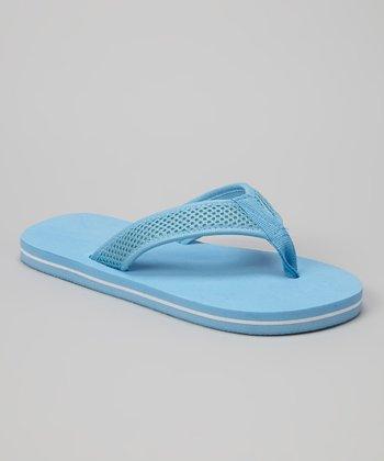 Empire Light Blue & White Mesh Strap Flip-Flop