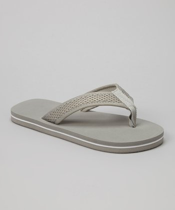Empire Gray & White Mesh Strap Flip-Flop