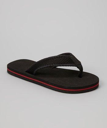 Empire Black & Red Mesh Strap Flip-Flop
