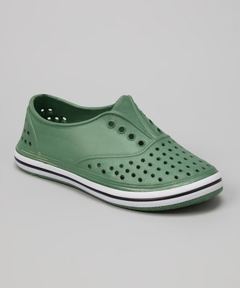 Chatties Army Green Perforated Slip-On Sneaker