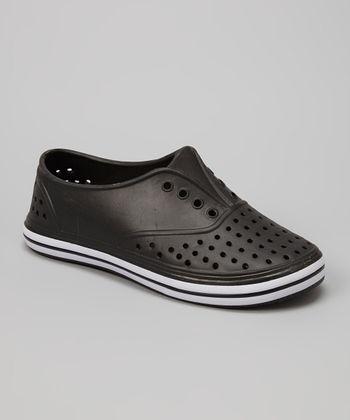 Chatties Black Perforated Slip-On Sneaker