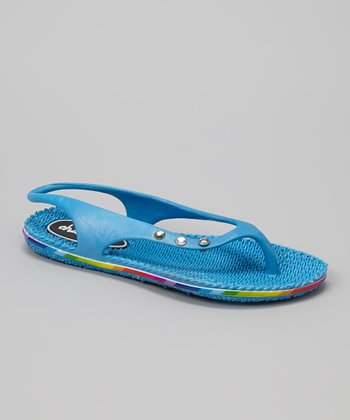 Chatties Turquoise Slingback Flip-Flop