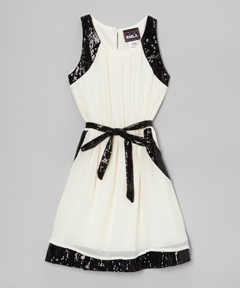 Ivory & Black Sequin Trim Chiffon Dress - Girls
